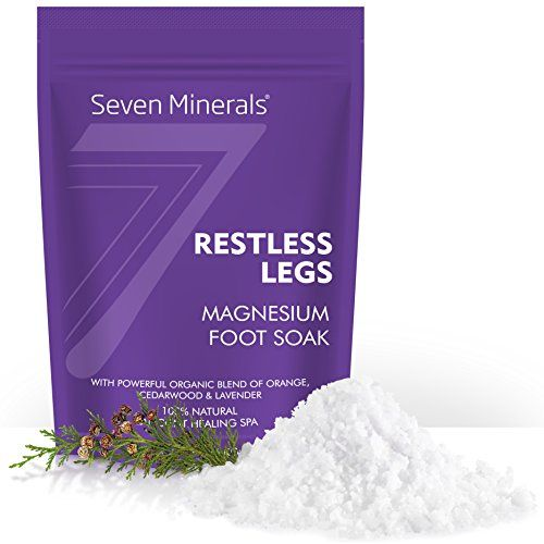 New RESTLESS LEGS Magnesium Chloride Flakes 3lb – Absorbs Better than Epsom Salt - Unique Foot Soak Formula For RLS Syndrome and Leg Cramps Treatment - With USDA Organic Orange, Cedarwood & Lavender  FOR RESTLESS LEGS, AND RESTLESS MINDS: Magnesium is required for 300 chemical reactions in the body, and when we are low it affects our cells ability to relax, control inflammation and detoxify. Restless Legs by Seven Minerals is a specialist formulation for Restless Leg Syndrome, muscle a...