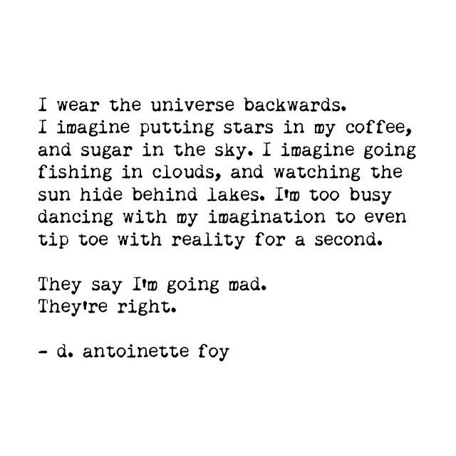 --i wear the universe backwards-- d. antoinette foy
