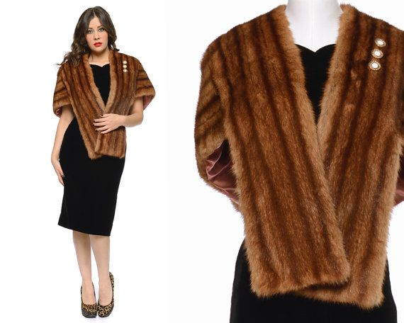 50s Fur Stole Brown Mink Shrug Retro Shawl by GravelGhostVintage, $84.00