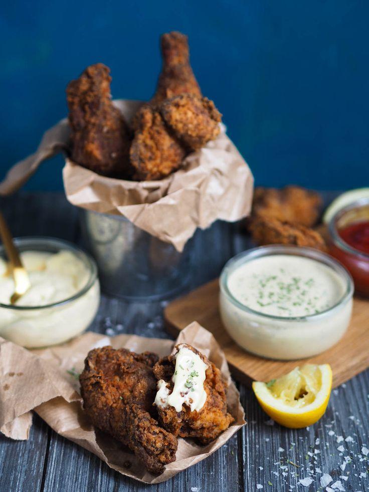 Fritert kylling med estragonsaus