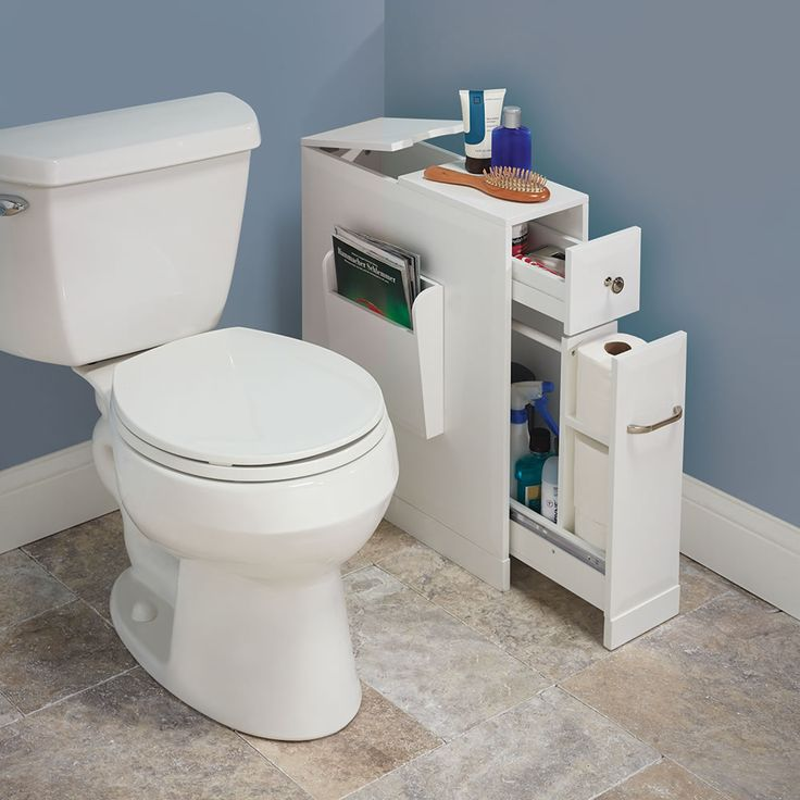 "With a narrow footprint but large capacity, this is the cabinet that adds organization and storage to a tight bathroom space. Only available from Hammacher Schlemmer and ideal for snug powder rooms or storage-starved washrooms with only a pedestal sink, the 9""-wide organizer slips beside a toilet or tub to unobtrusively hold personal items and cleaning products in five separate compartments. #SpickAndSpan"