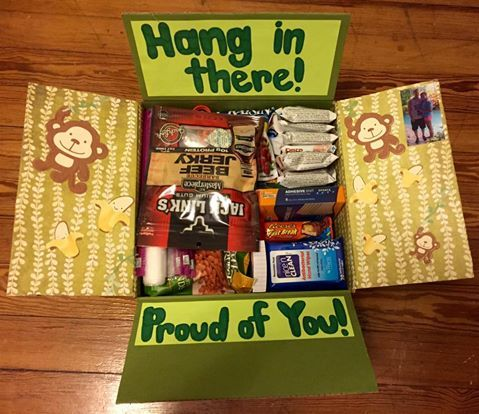 """Hang in there"" Care Package for military or college - large flat rate box! Made by @krity_cent"