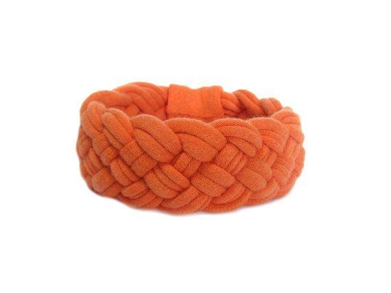 Orange Braided T-shirt Bracelet, Orange Cuff Bracelet, Summer Spring Accessories, Chunky Cuff, T-shirt Yarn Bracelet, Recycled T-shirt
