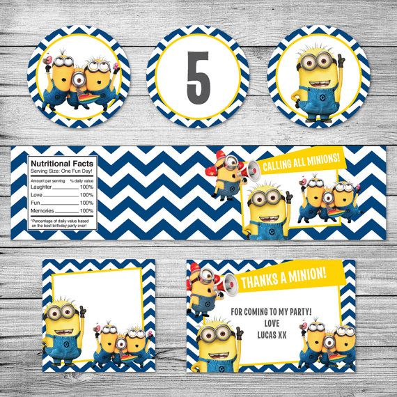 The Minions party labels / Minions invite / Cup by PixelpopShop