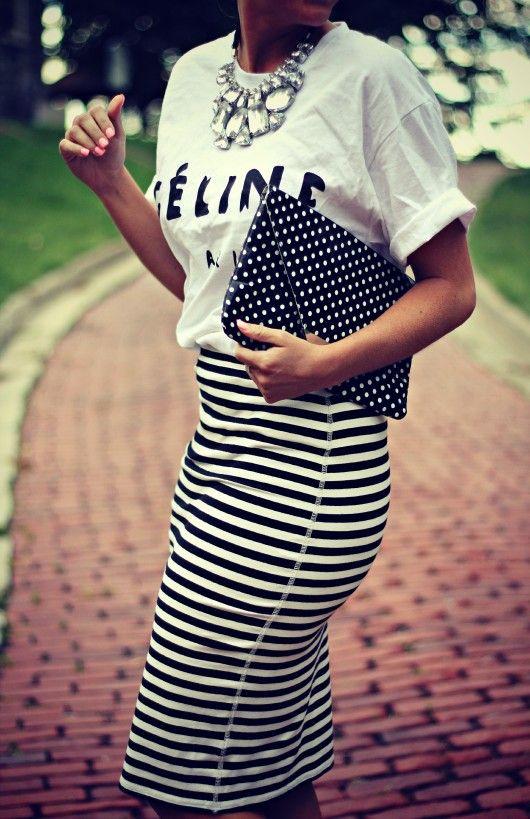 Celine T Shirt @Donna Maywald Navy striped skirt polka dot clutch