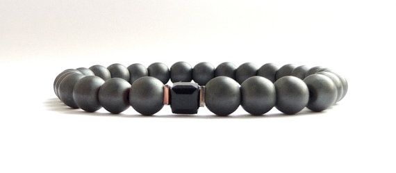 Men's gray crystal bracelet /Hematite Swarovski by MiTTiNaturals