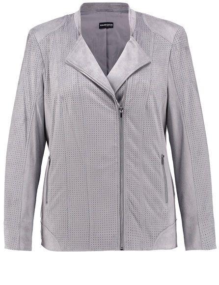 Sportief in styling en kostbaar karakter is dit nieuwe jasje met een velours-look. De perforatie biedt vaardige accenten. Modieuze geïnterpreteerde b...