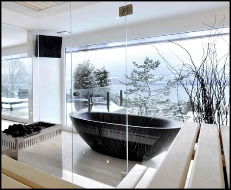 Awesome Amazing 10 Really Gorgeous Wooden Bathtubs From Alegna : Amazing 10 Really  Gorgeous Wooden Bathtubs From Alegna With White Wall Glass Window Door  Black ... Amazing Pictures