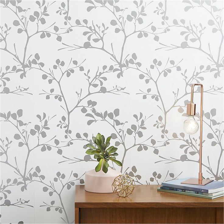 lilt silver self-adhesive wallpaper | CB2