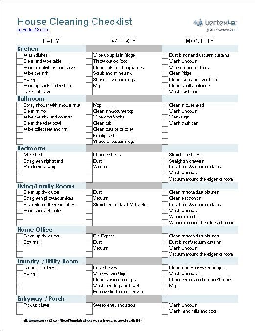 This is a great house cleaning checklist. This site also has some great templates for organizing your grocery list, packing list, wedding agenda, ect. A great site to visit to become more organized in the new year :)