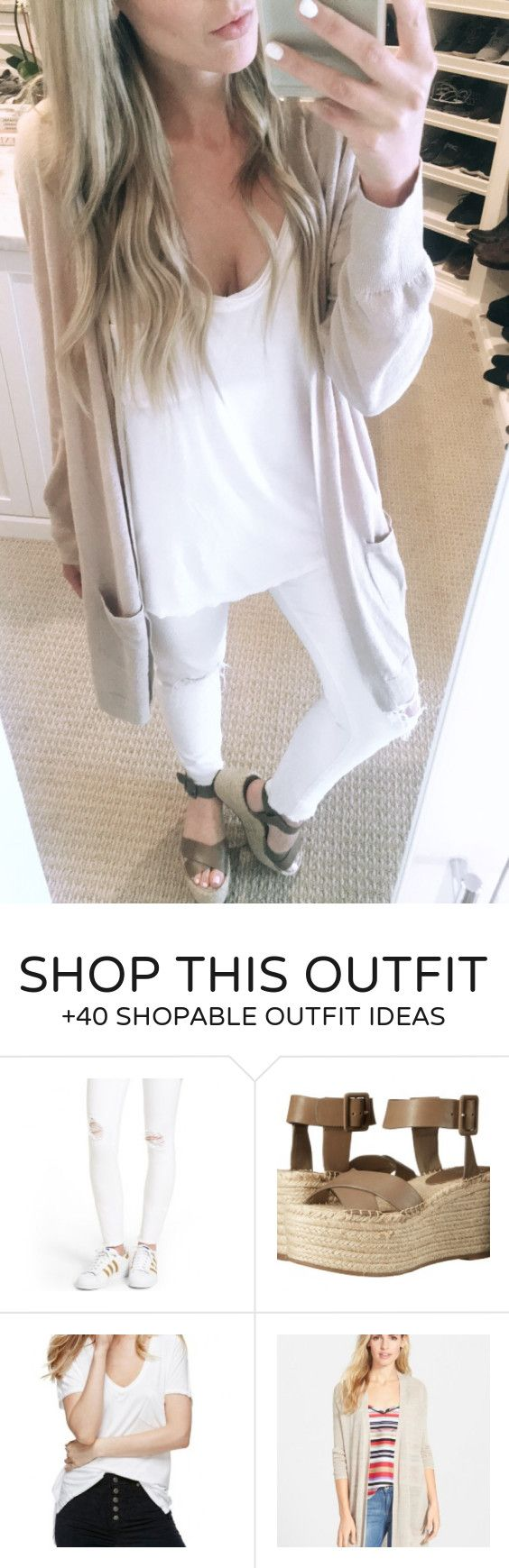 #summer #outfits  Grey Cardigan + White Tee + White Ripped Skinny Jeans + Grey Wedge // Shop This Outfit In The Link