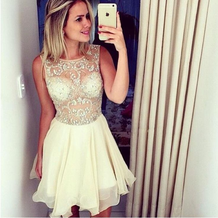Homecoming dress chiffon homecoming dresses short prom gown champagne