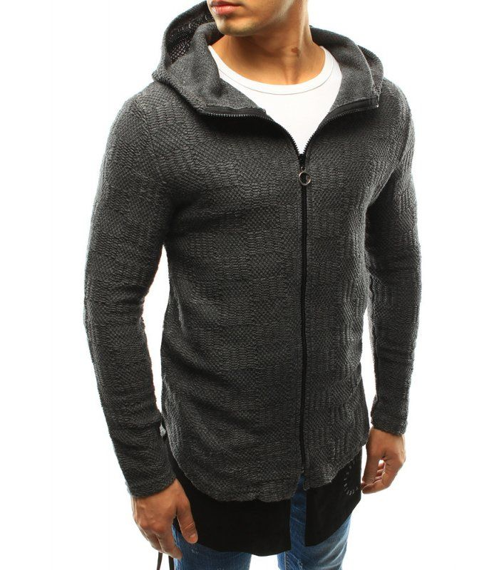 Pánsky antracitový sveter s kapucňou
