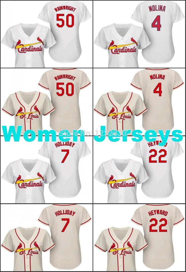 Купить товарБейсбол женщины st. сент луис 50 адам уэйнрайт, 7 мэтт холлидей, 4 Yadier молина, 22 джейсон хейуорд девушки кофта в категории Майки спортивныена AliExpress.   MLB спортивная подлинные бейсбол женщин ST. Луис Кардиналс Джерси 50 Адам Уэйнрайт, 7 Мэтт  Холидей, 4 Yadier Молина,