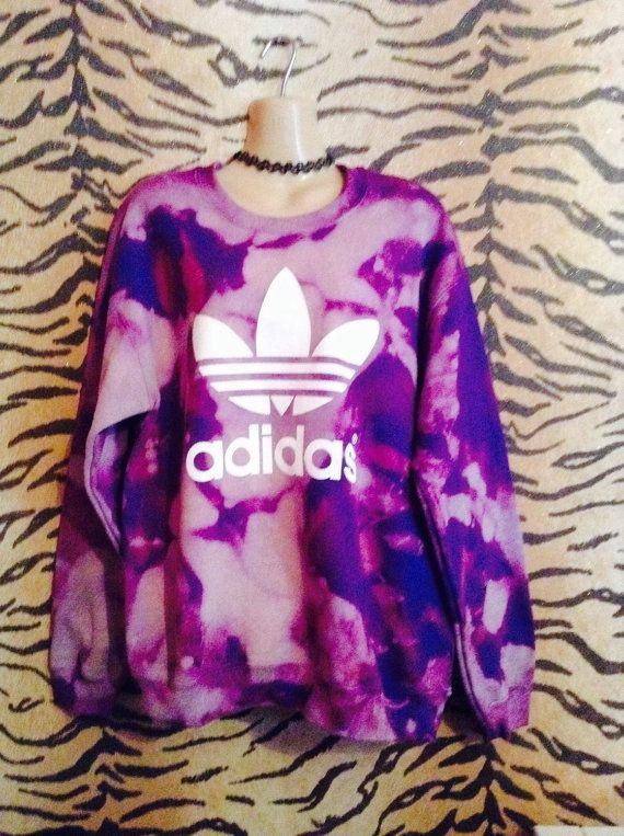 Unique acid wash tie dye adidas sweatshirt by ILOVEPARADISEGARAGE