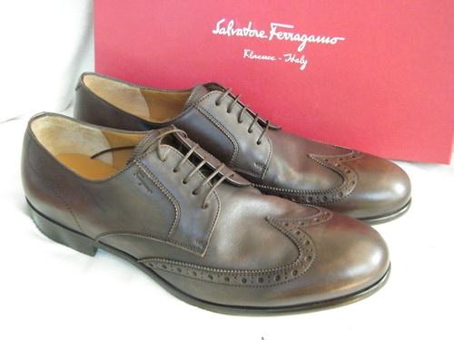 Salvatore Ferragamo Mens Shoes Brown Leather Lace Up Bright 12 | eBay