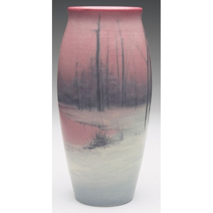 Rookwood vase, tapered shape in a Vellum glaze, nicely painted winter landscape