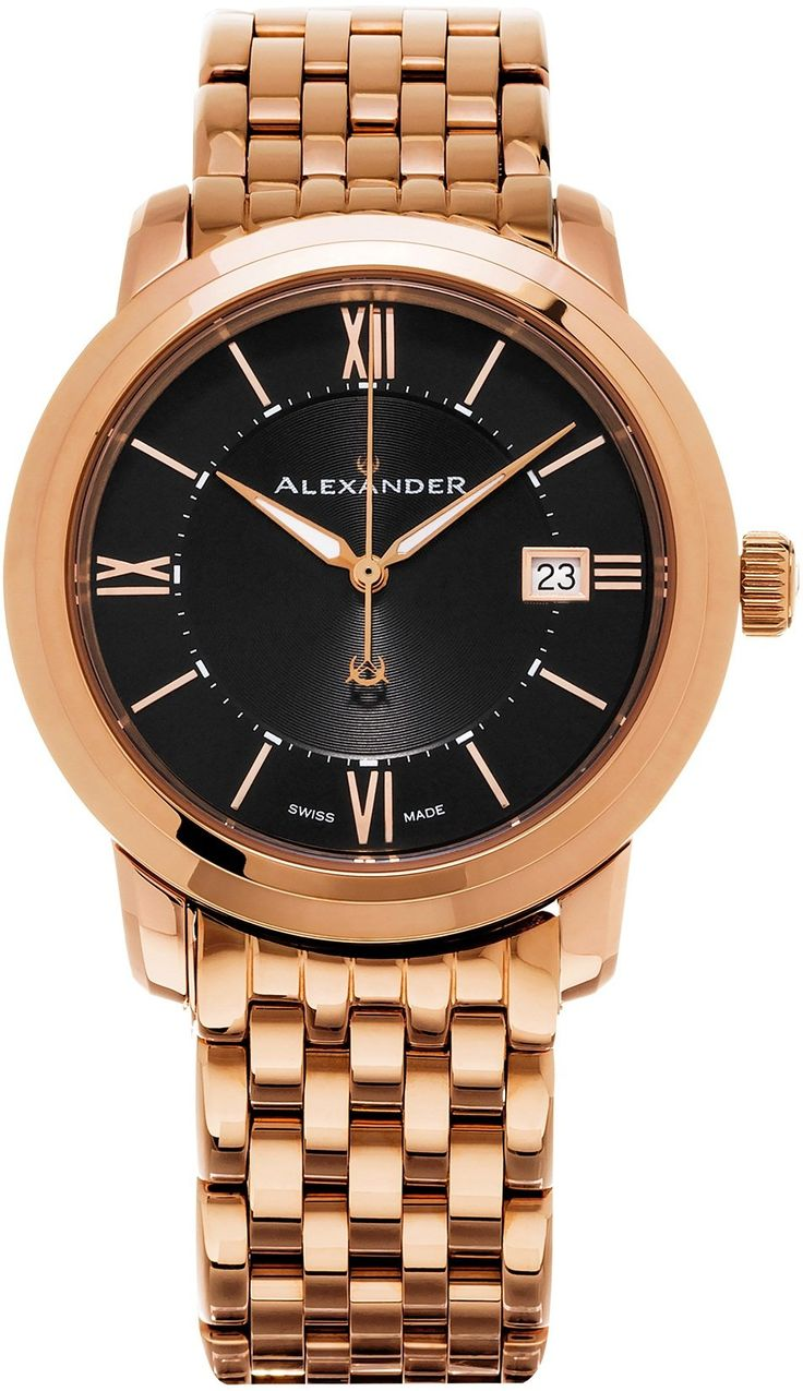 Alexander Heroic Macedon Bracelet Wrist Watch For Men - Black Dial Date Analog Swiss Watch - Stainless Steel Plated Rose Gold Watch - Mens Designer Watch A111B-07. Brand new and authentic wristwatch with brushed and polished rose gold plated 316L surgical grade stainless steel round case (40 mm in diameter, 9 mm thick), Screw-in case-back with embossed Alexander logo. Black face with classic circular line guilloche in center, Rose gold-tone luminous hands, Center seconds hand, Applied…
