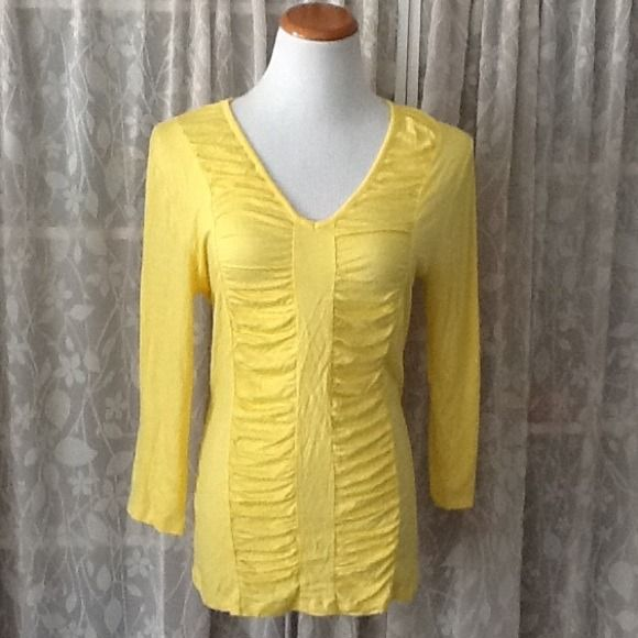 """❤️❤️NY & Co. Yellow long sleeve top New York & Company yellow long sleeve top with front ruching. Measures approx. 26"""" from shoulder to hem, 18"""" across chest. 95% viscose 5% spandex. NY & Co.  Tops"""