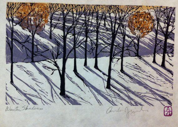 Winter Shadows -Colour reduction lino print by Andrew Jagniecki