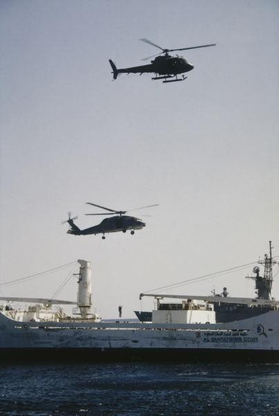 S-70B-2 Seahawk & AS350B Squirrel from HMAS Adelaide boarding Iraqi merchant vessel `Al Bahar Al-Arabi' - October 1990
