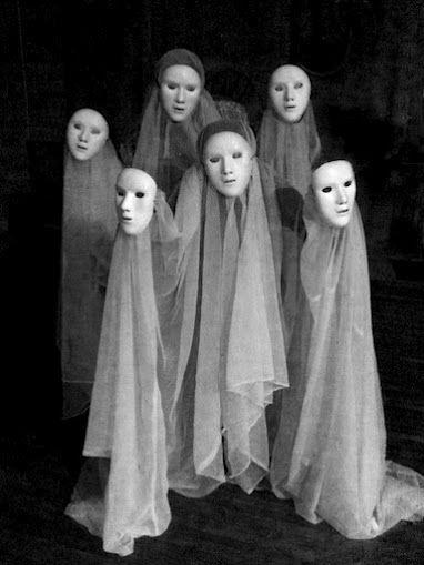Adding blank masks to gauze ghosts ups the creepy factor.  http://media-cache-ak0.pinimg.com/originals/87/19/be/8719bec5a17735cb1f5606d7eda2342f.jpg