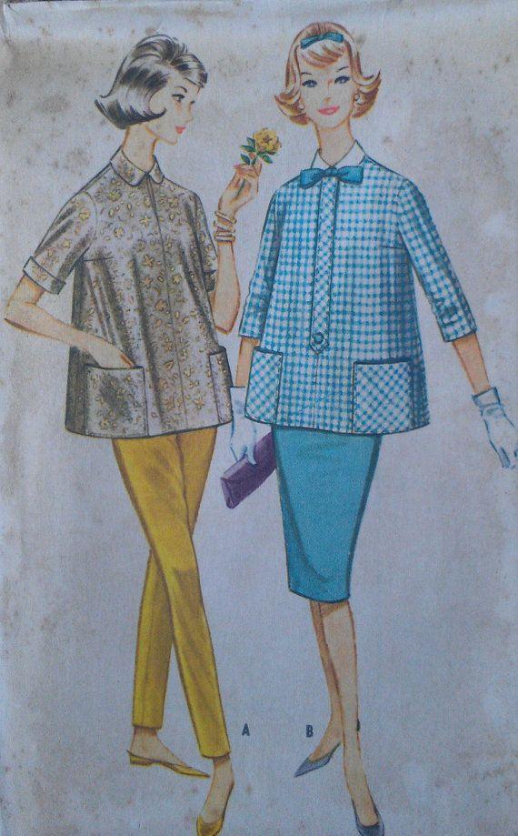 Vintage 50s Maternity Smock Top Skinny Pants от VtgFashionLibrary