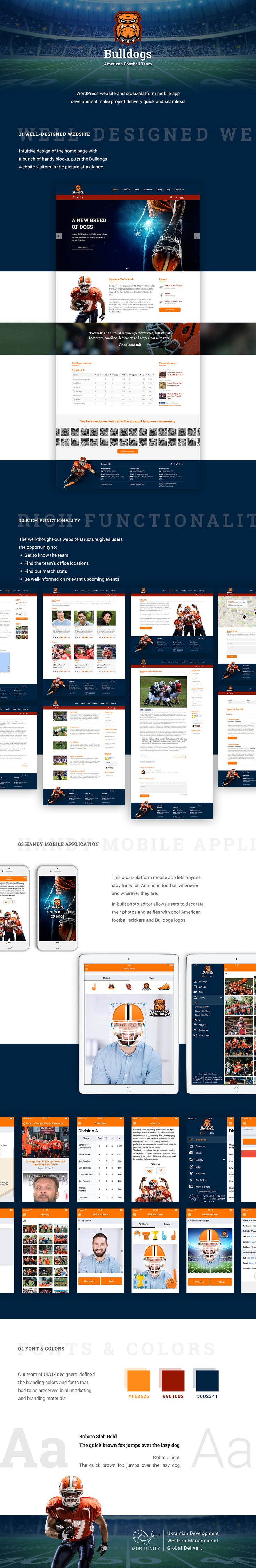 What means do you use to bring your enterprise to local and global awareness? American Football Team uses both web and mobile development, which will bring to success!