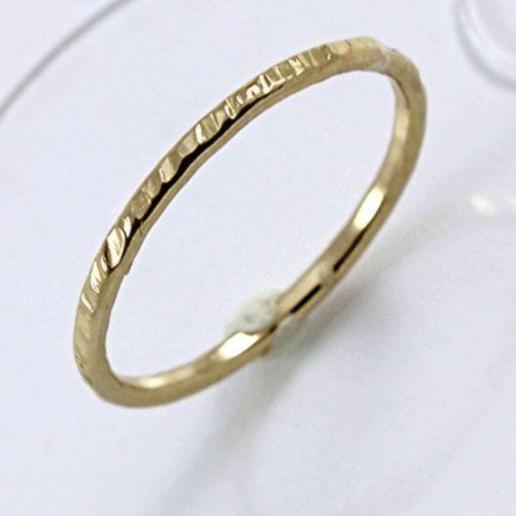Gold Wedding Band Hammered Ring 14K Gold Filled by gypsydesignsltd