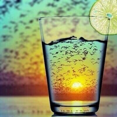 Image result for ice cubes in a glass in front of sunset