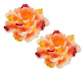 Set of 2 Candle Impressions Painted Flower Flameless Candles w/Timer