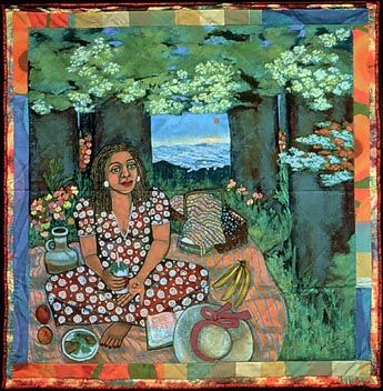 "Quilt by artist Faith Ringgold - ""Picnic on the Grass... Alone"", 1997, acrylic on canvas, painted and pieced border, 79"" x 77.25"" ... I bought a calendar with 12 images of her quilts - I love her work; this is one of my favorites."