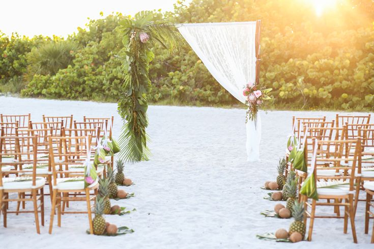 Tropical wedding ceremony ideas and inspiration at the Postcard Inn | Florida beach wedding venues (Lifelong Photography Studio)
