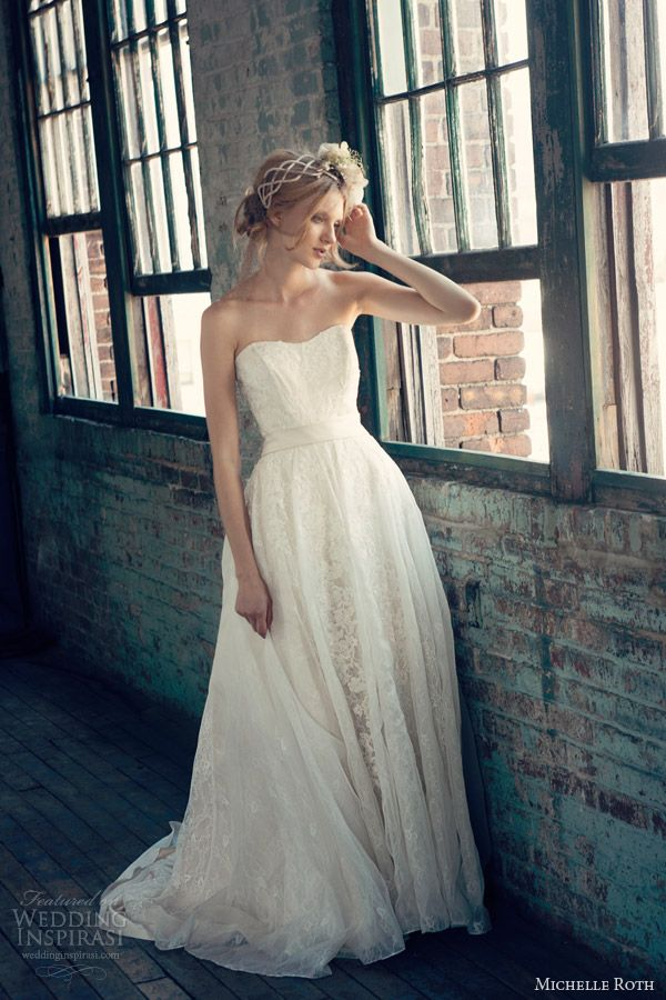 Sophisticated Michelle Roth Wedding Dresses 2014 Collection. To see more: http://www.modwedding.com/2014/01/08/sophisticated-michelle-roth-wedding-dresses-2014-collection/ #wedding #weddings #fashion