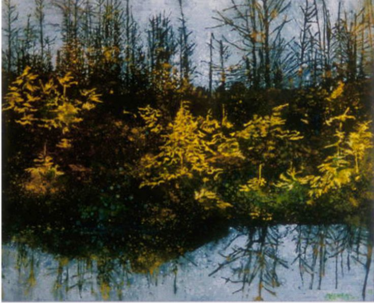 Tamaracks beaver pond 20`x 26`` micheal zarowsky watercolour on arches paper - private collection
