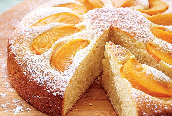 Okanagan Peach Cake - juicy, ripe Okanagan peaches find a hapy home nestled in rich sour cream cake batter!!!