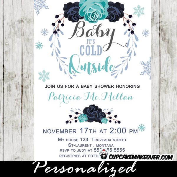 Winter Baby Shower Invitations Featuring A Beautiful Bouquet Of Flowers  With Garlands Of Berries And Leaves