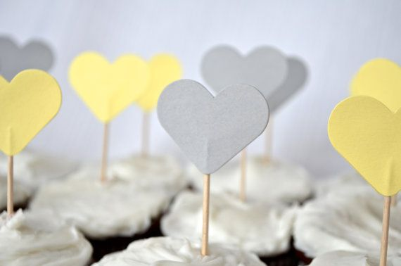 12 Gray and Yellow Heart Cupcake Picks by thePathLessTraveled, $3.60 wedding toppers