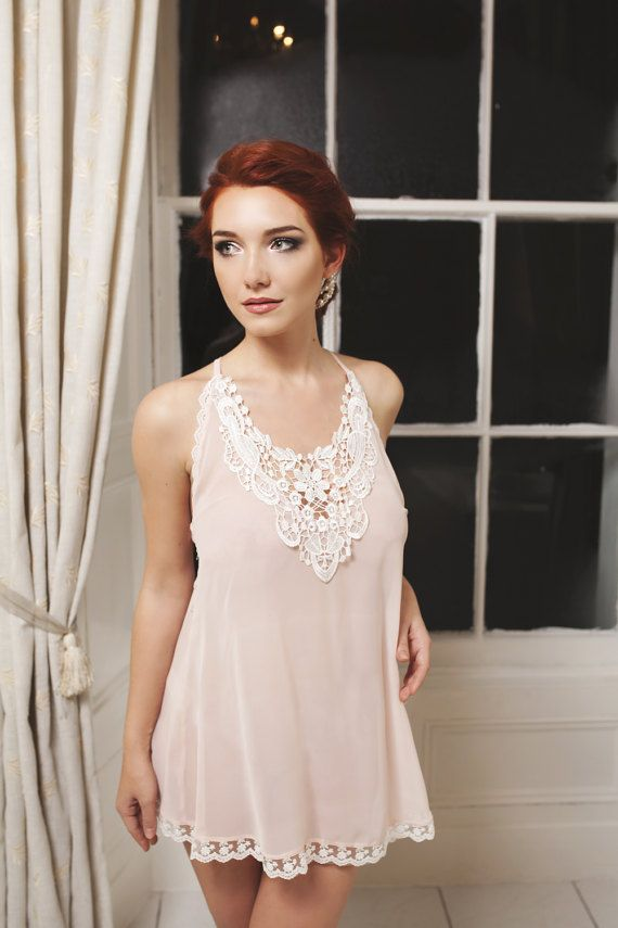 Blush chiffon ivory lace trim Boudemia bridal by Boudemia on Etsy