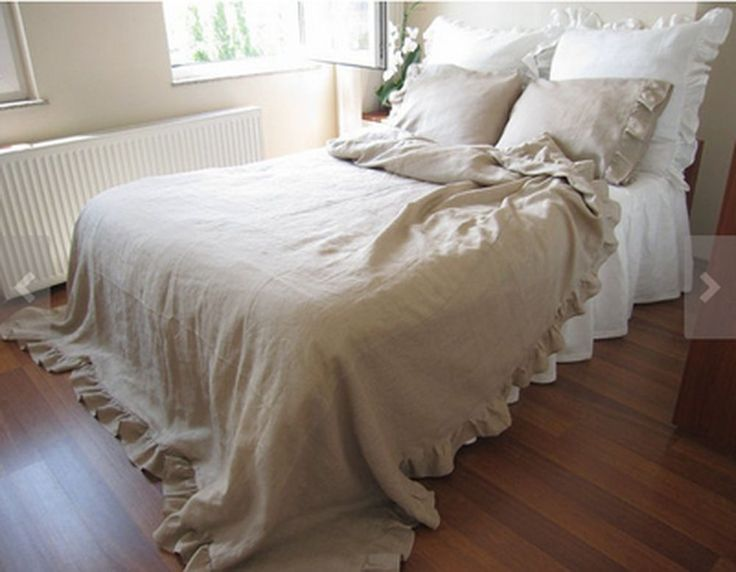 Shabby chic Natural 100% Linen Bed sheet Bed skirt ruffle bedding queen king | eBay