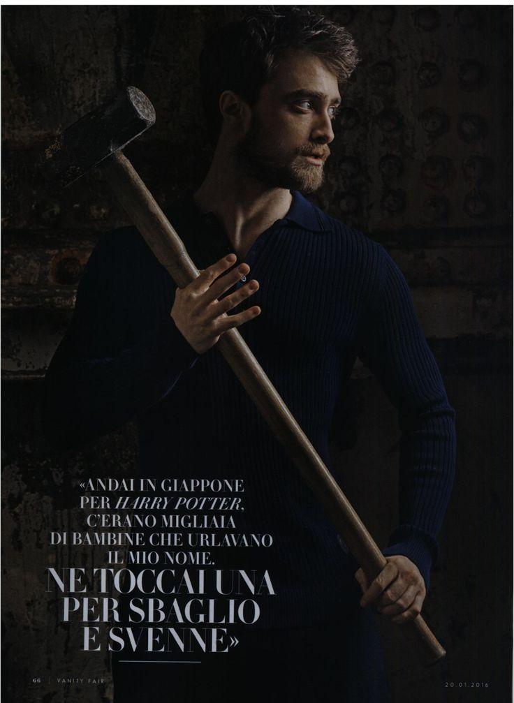 Actor Daniel Radcliffe wearing TRUSSARDI polo shirt featured in Vanity Fair Italia - January 2016