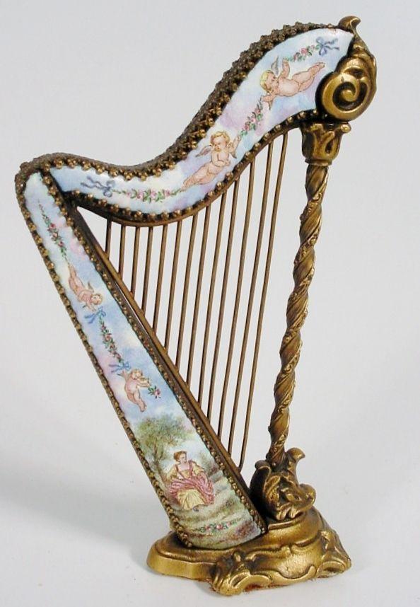 Grandest Antique Austrian Enamel Miniature Harp Cherubs