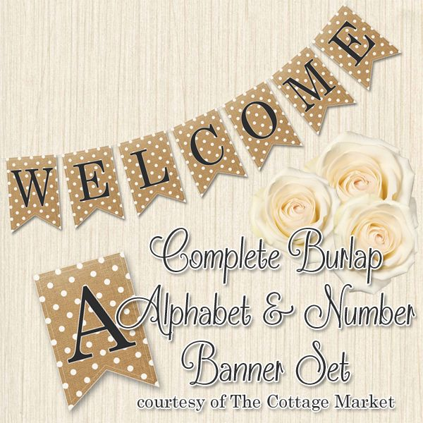 The Cottage Market - Burlap Polka Dot Banner - http://www.thecottagemarket.com/2013/07/free-printabe-complete-alphabet-and.html#more