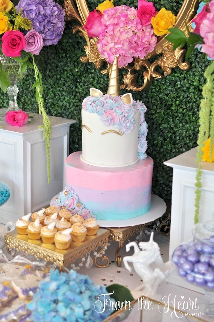 Unicorn cakescape from a Vibrant Unicorn Birthday Party on Kara's Party Ideas | KarasPartyIdeas.com (10)