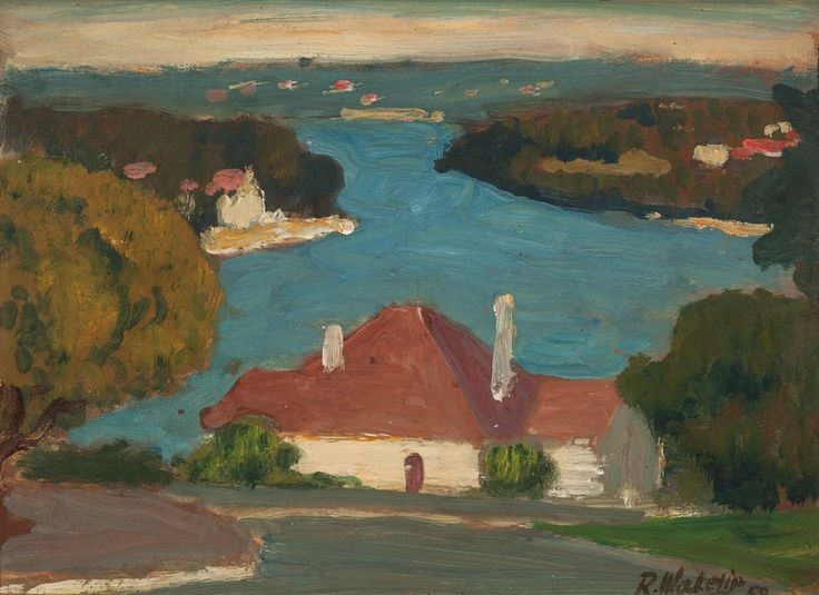 LOT 131 Roland Wakelin  UNTITLED (VIEW OF NORTHWOOD) C1950  oil on paper on board 21.5 x 30.0 cm Estimate A$2,000 - A$2,600