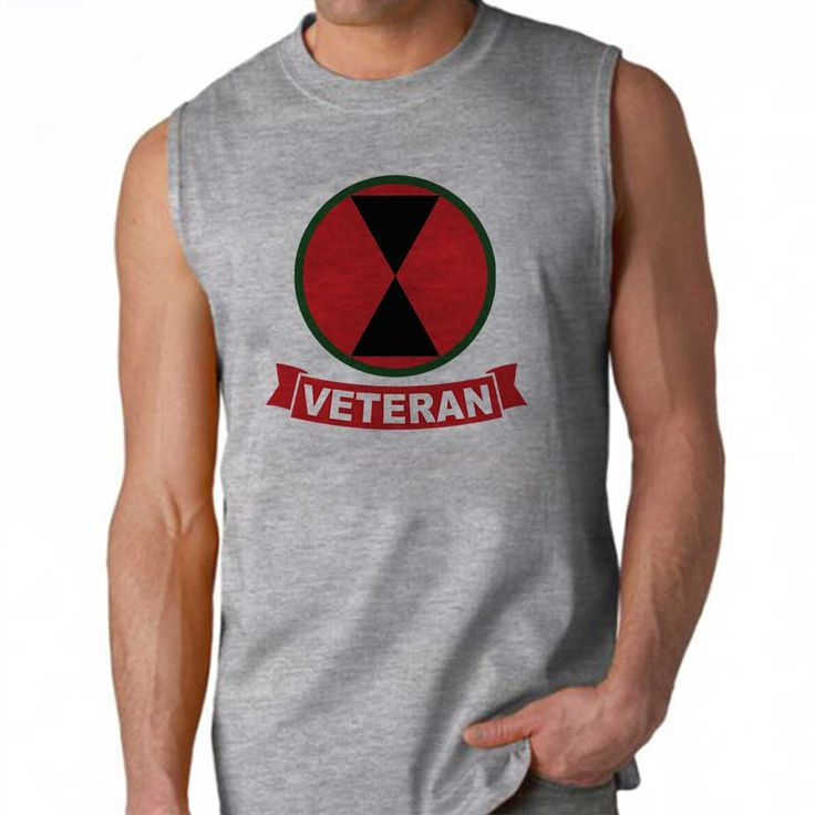 """One of our most popular designs, now available on a sleeveless shirt!  This 100% Polyester Gildan sleeveless shirt will keep you cool and dry all summer long. Let your biceps breathe and show your military pride at the same time in the """"Army 7th Infantry Division Veteran Sleeveless Shirt"""" ."""