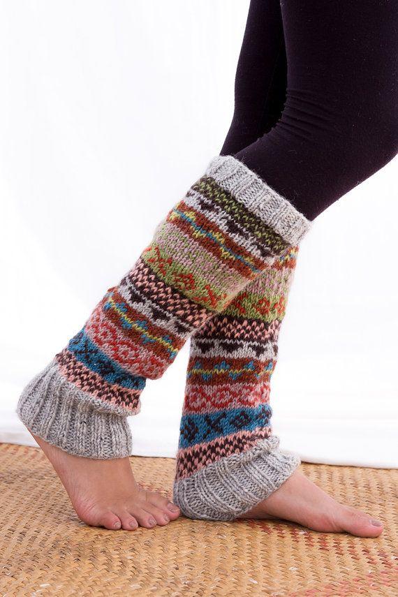 WO-013 Handknit warme wollen been Warmer Nepal, Winter beenwarmers, wol beenwarmers