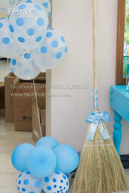 Vintage Cinderella Birthday Party Ideas. love the broom and balloons as decor.  Would be great at front door