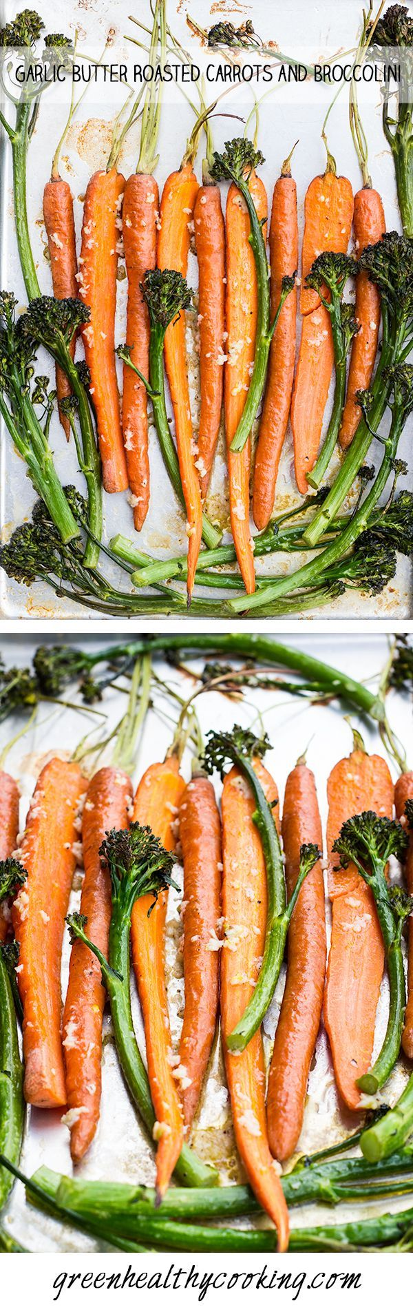 Butter Garlic Roasted Carrots and Broccolini - A recipe for a quick and easy to prepare healthy side dish that is both gorgeous looking and full of flavor!