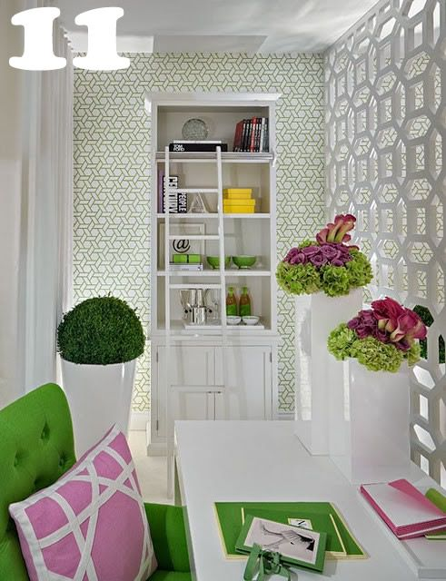 23 Sensational Home Offices {inspiration} | I Love the Pop of Green with the White!